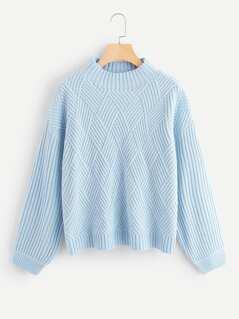 Geo Front Rib Knit Sweater