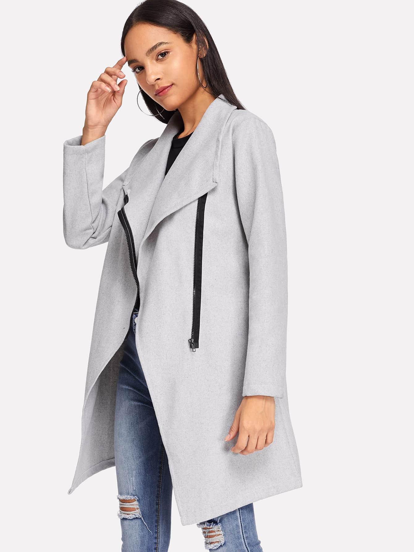 Купить Простое пальто с застёжкой молния, Kary, SheIn