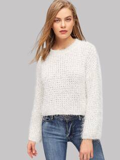Solid Eyelet Fuzzy Sweater