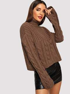 Mixed Knit Rolled Up Neck Sweater
