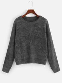 Drop Shoulder Eyelet Marled Sweater