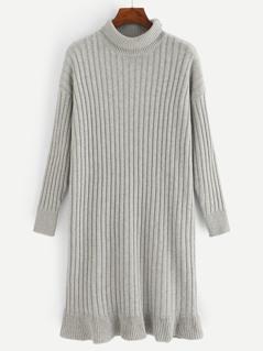 Flounce Hem Rib-knit Dress