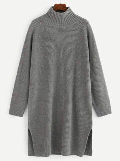 Raglan Sleeve Slit Hem Knit Dress