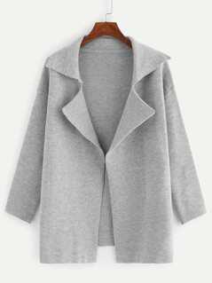Notched Collar Drop Shoulder Cardigan