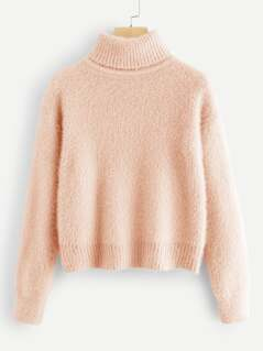 High Neck Solid Fuzzy Jumper