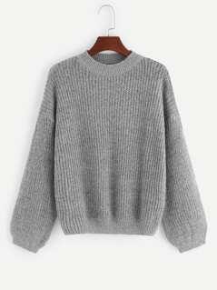 Lantern Sleeve Drop Shoulder Sweater