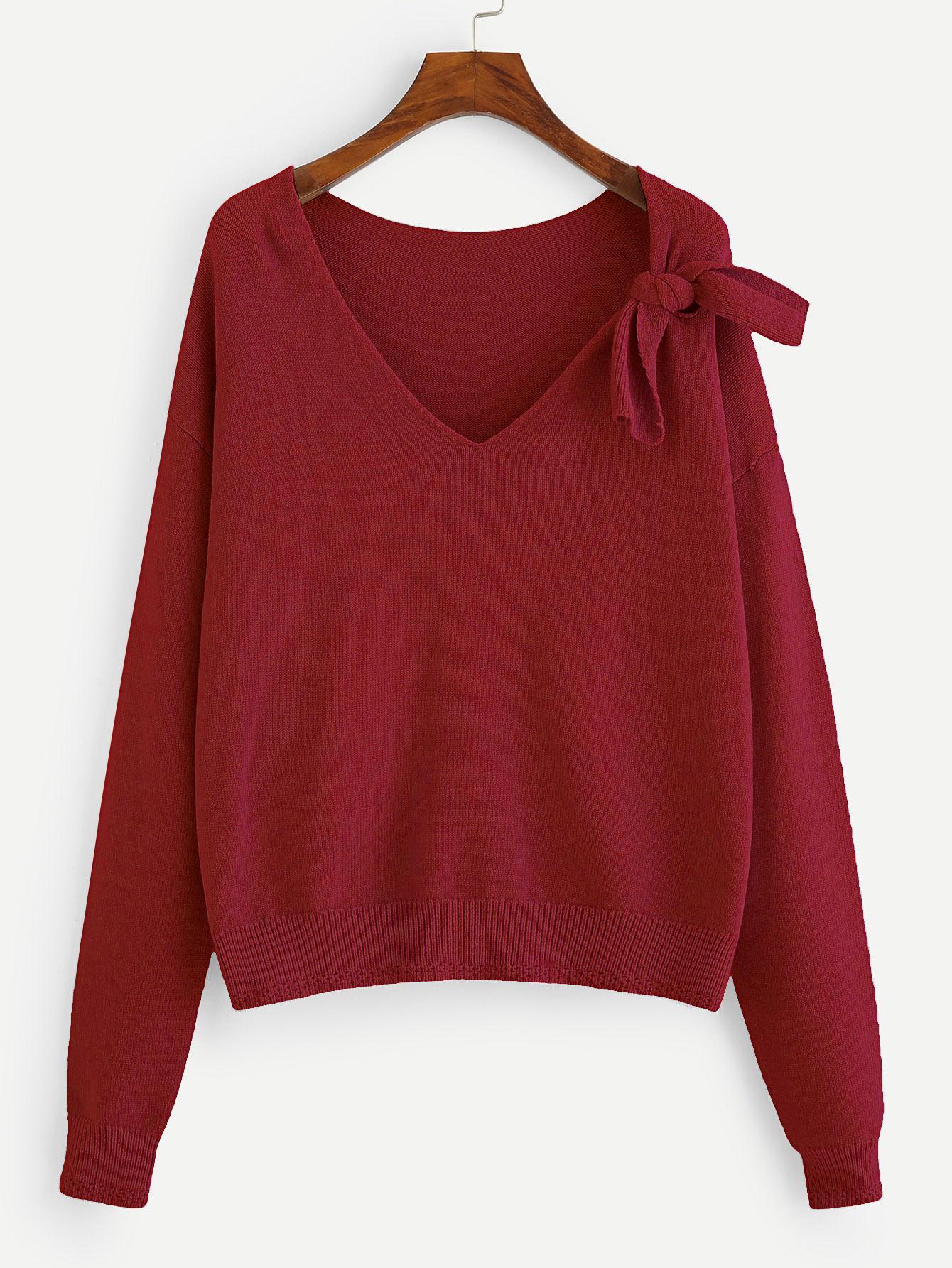 Купить Однотонный свитер с V-образным вырезом и бантом, null, SheIn