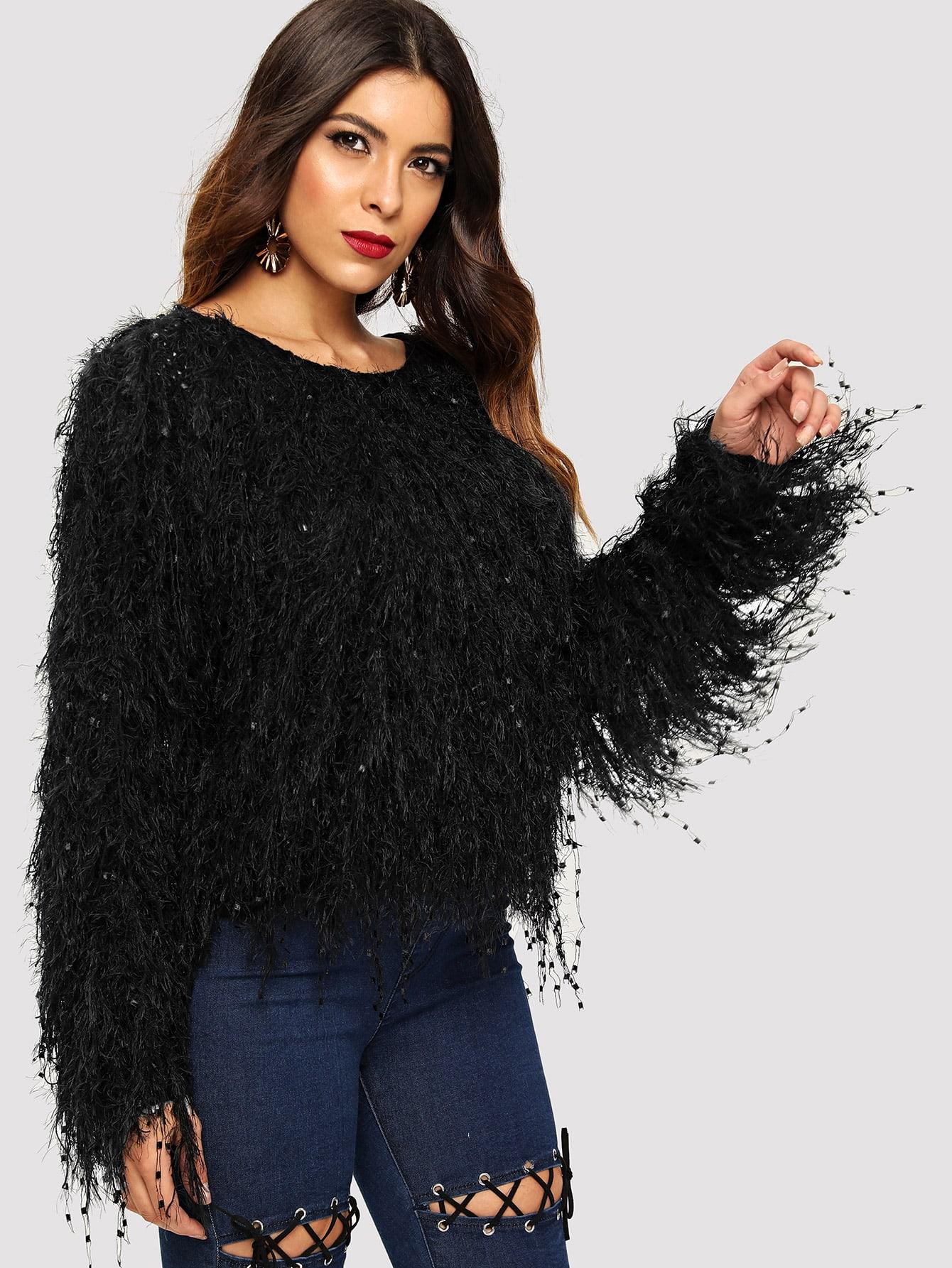 Купить Однотонный свитер тедди, DANI A, SheIn