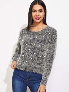 Pearl Beaded Fuzzy Jumper