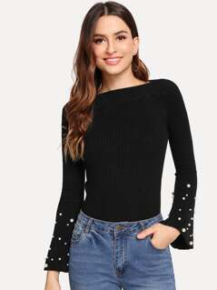 Pearl Beaded Bell Sleeve Fitted Jumper