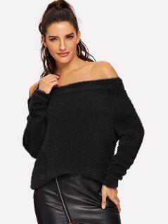 Off Shoulder Fuzzy Sweater