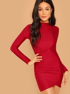 Mock-Neck Ruched Solid Dress