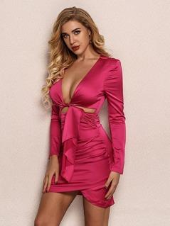 Joyfunear Neon Pink Knot Front Ruched Wrap Dress