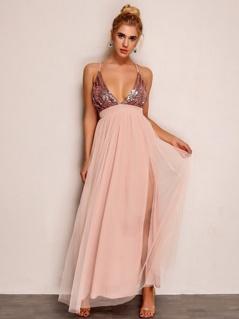 Joyfunear Plunging Neck Sequin Bodice Mesh Overlay Dress