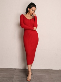 Joyfunear Double V Neckline Rib Knit Dress
