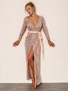 Joyfunear Deep V Neck Sequin Belted Dress