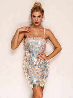 Joyfunear Iridescent Sequin Chevron Cami Dress