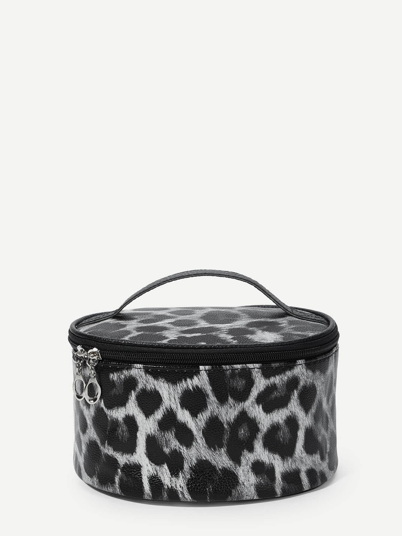 Купить Леопардовая круглая косметичка с застёжкой молния, null, SheIn
