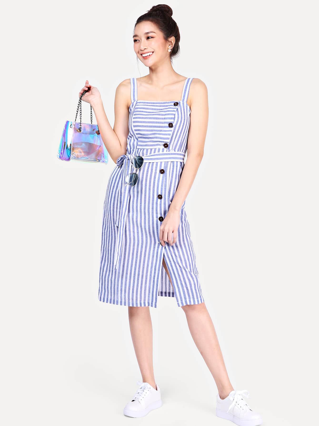 Купить Платье с полосками и пуговицами, Dounia Aleksic, SheIn