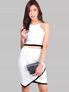 Contrast Binding Hem Textured Top And Overlap Skirt Set