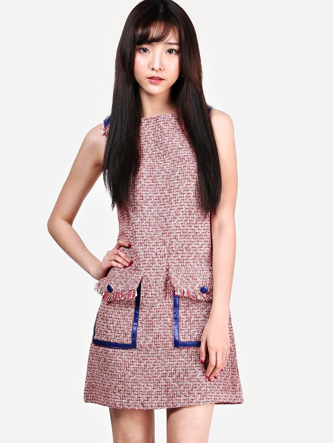 Купить Тивдовое платье-жилет с карманамим и бахромой, Jana, SheIn