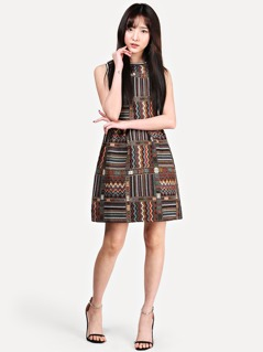 Striped Trim Tribal Embroidered Dress