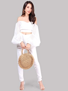 White Off The Shoulder Oversized Lantern Sleeve Belted Eyelet Top