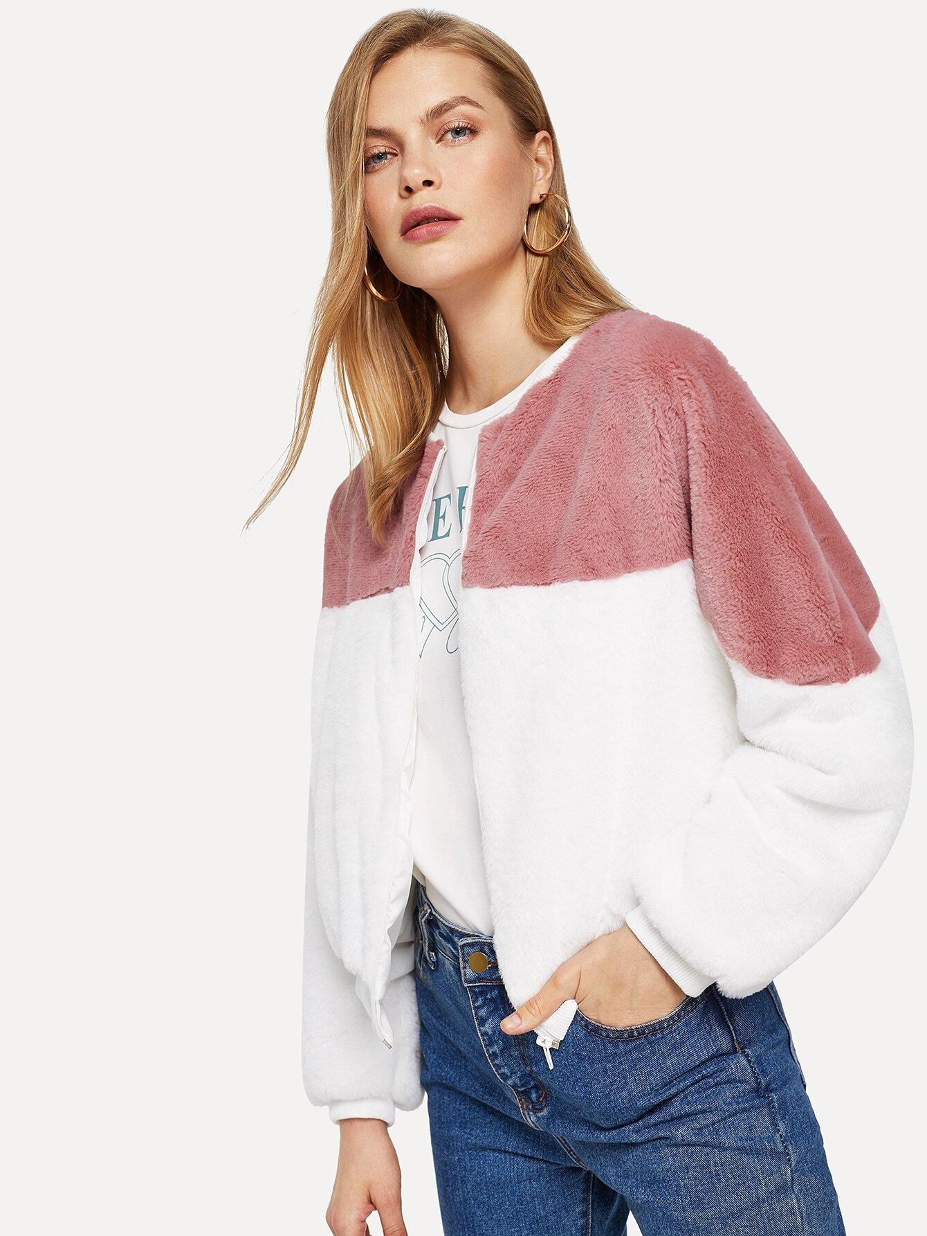 Купить Контрастная пушистая куртка на молнии, Kate C, SheIn