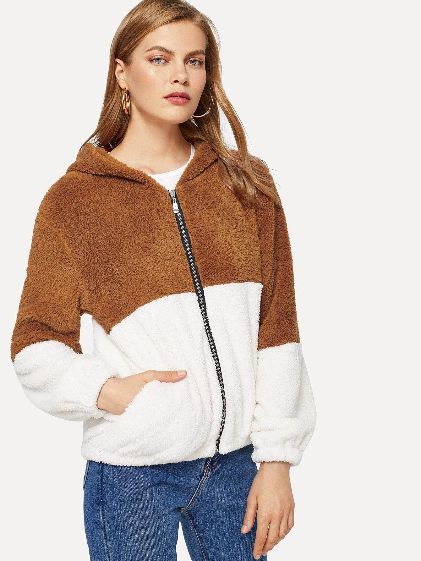 Контрастная пушистая куртка с капюшоном, Kate C, SheIn  - купить со скидкой