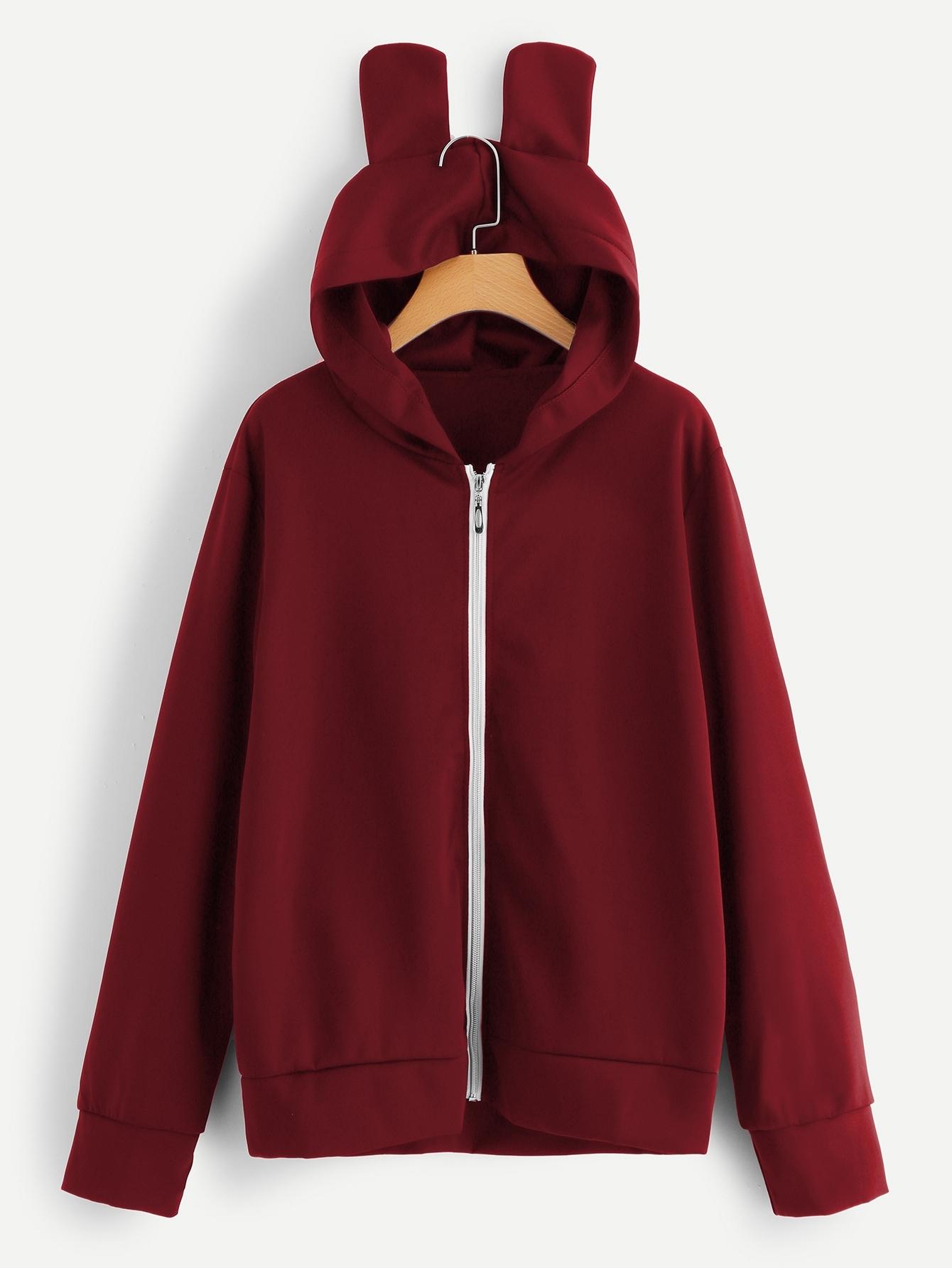 Купить Размера плюс однотонное пальто с капюшоном, null, SheIn