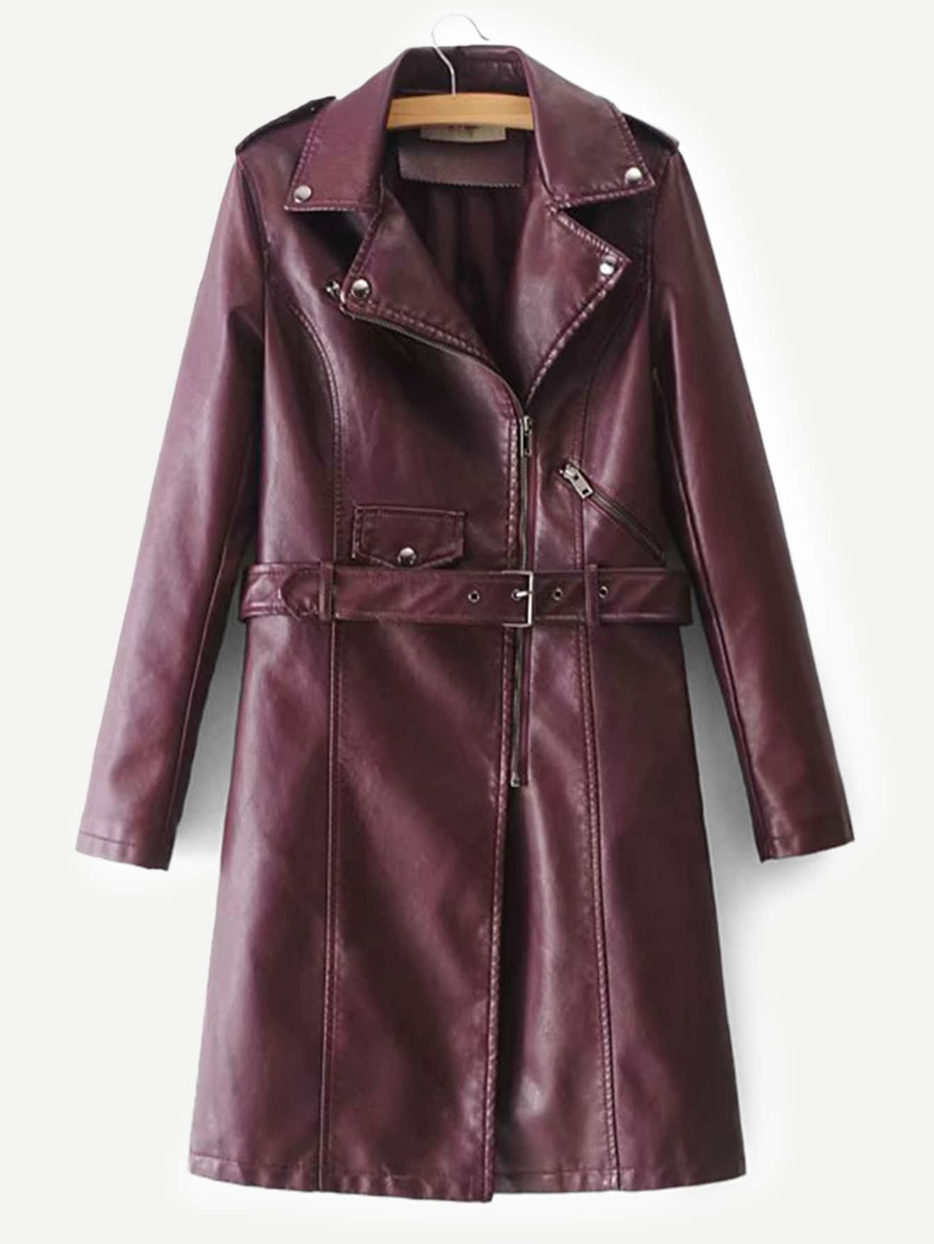 Купить Пальто с поясом из искусственных кож, null, SheIn