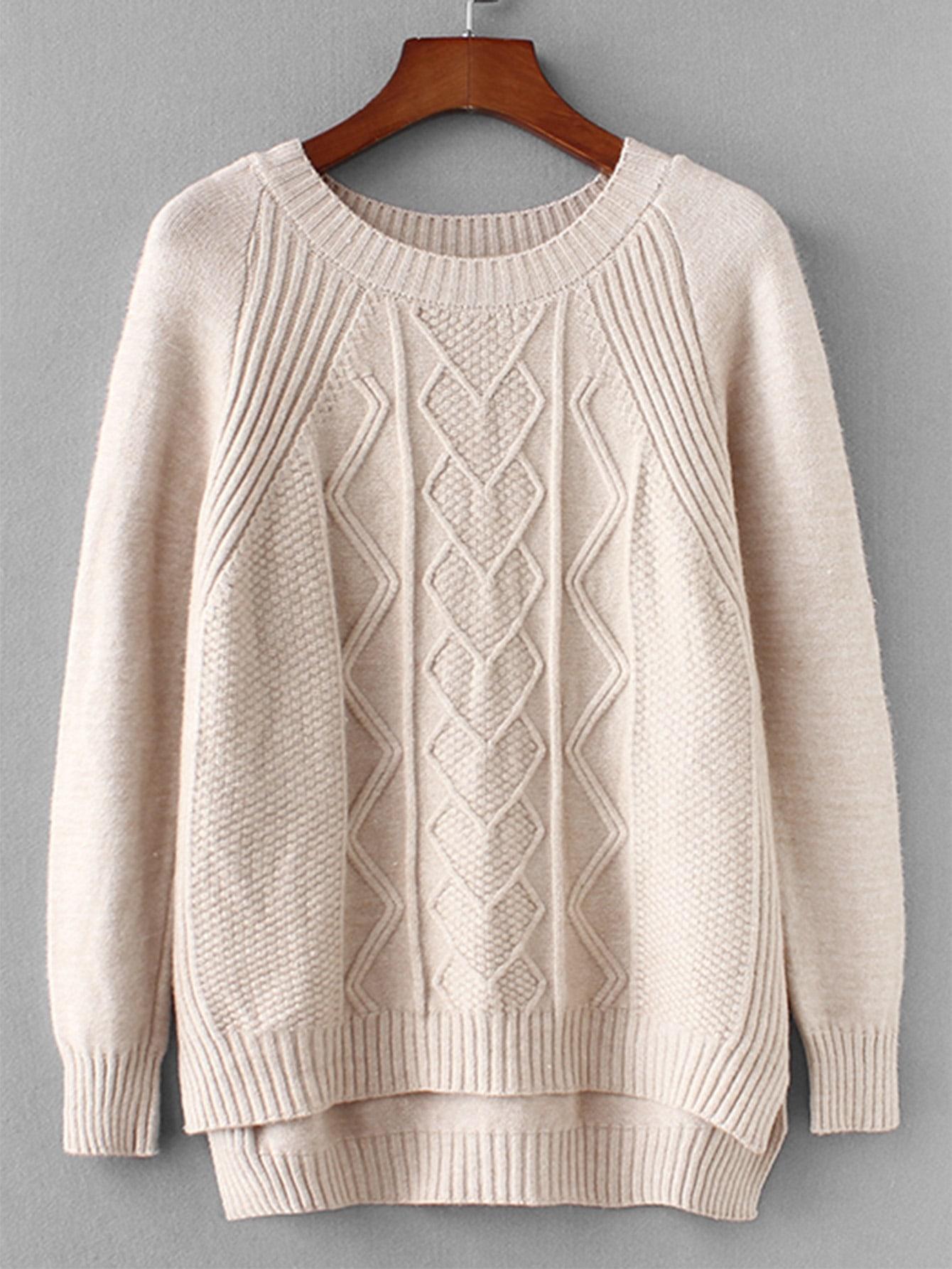 Купить Вязаный асимметричный свитер, null, SheIn