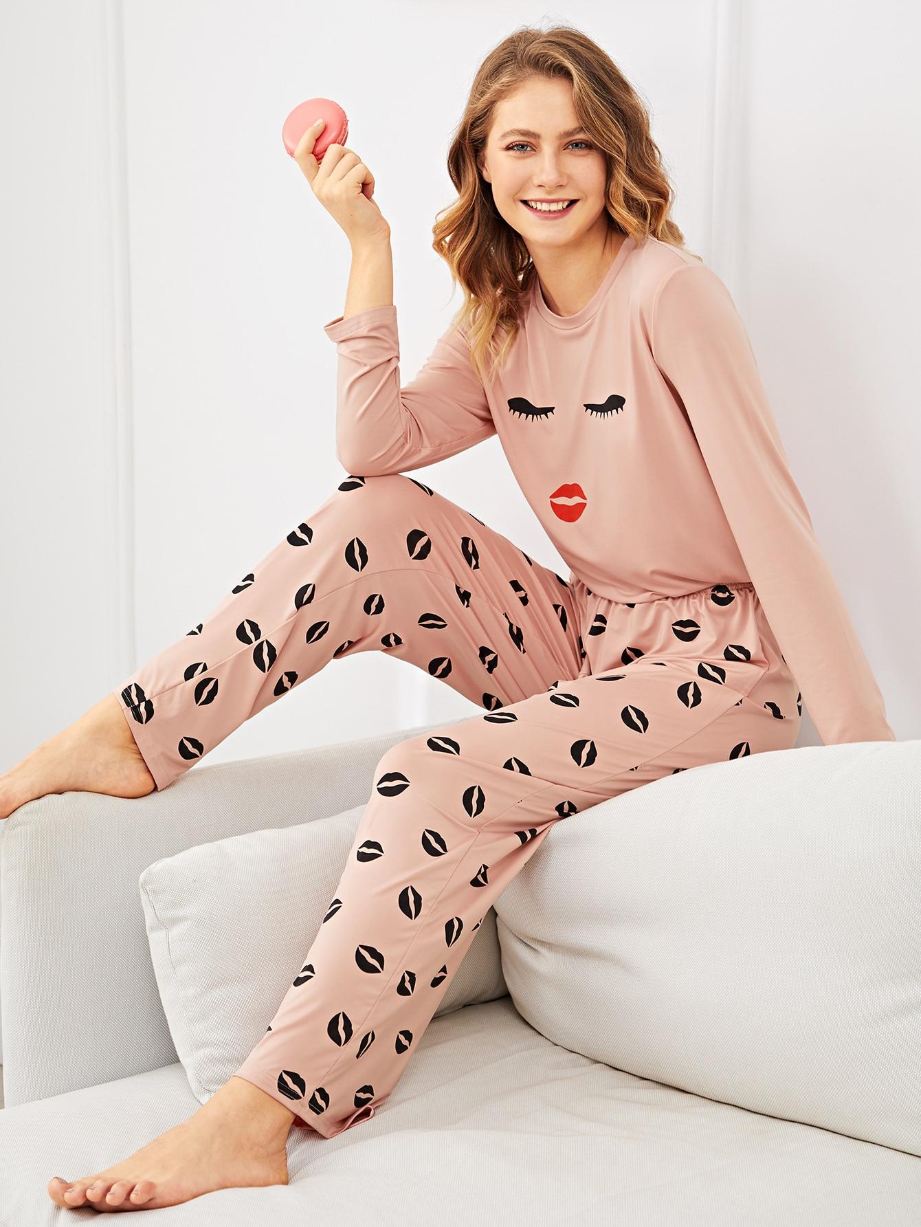 Пижама с принтом губ и ресниц, Nastyab, SheIn  - купить со скидкой
