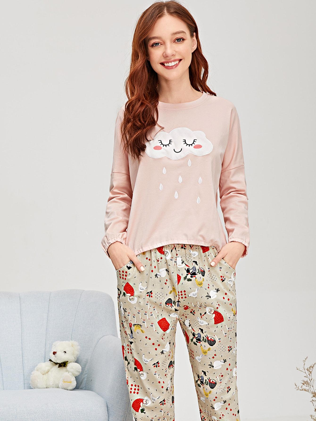 Пижама с принтом мультяшным и вышитого облака, Poly, SheIn  - купить со скидкой