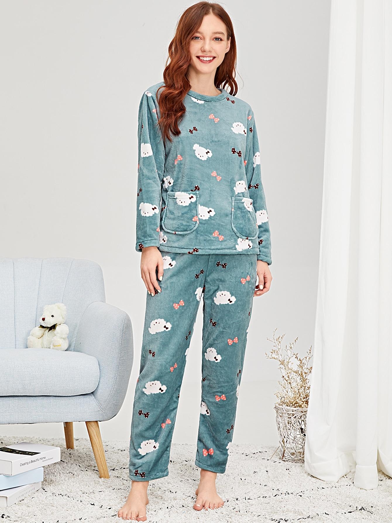 Купить Пушистая пижама с принтом мультяшным, Poly, SheIn