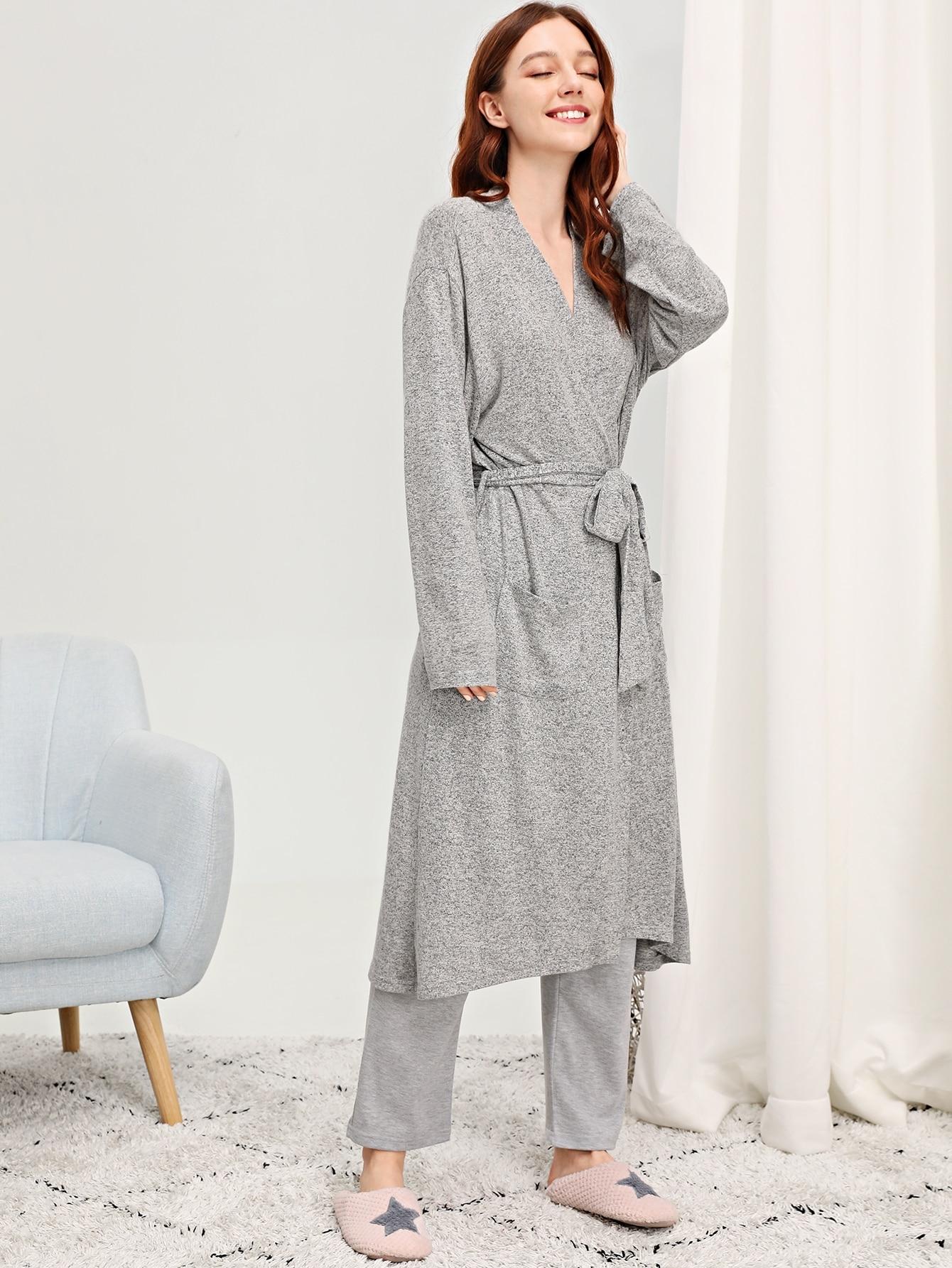Купить Длинный домашний халат с поясом, Poly, SheIn