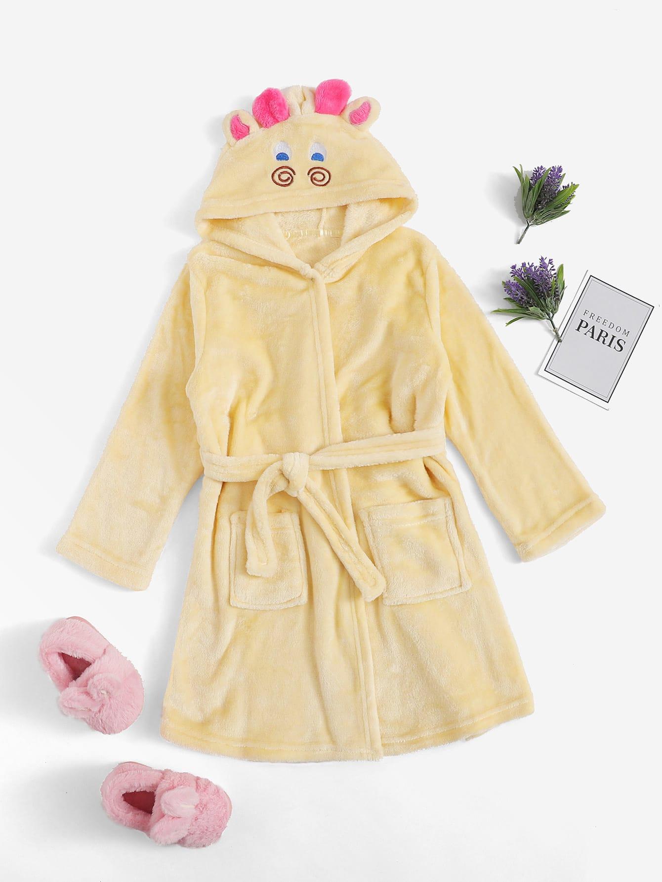 Пушистый домашний халат с капюшоном и принтом оленя для девочек от SheIn