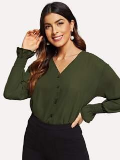 Button Up Smock Cuff Shirt