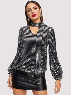 Tie Neck Sequin Top