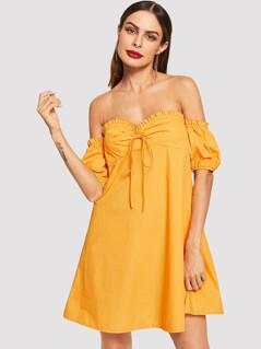 Frilled Off Shoulder Puff Sleeve Dress