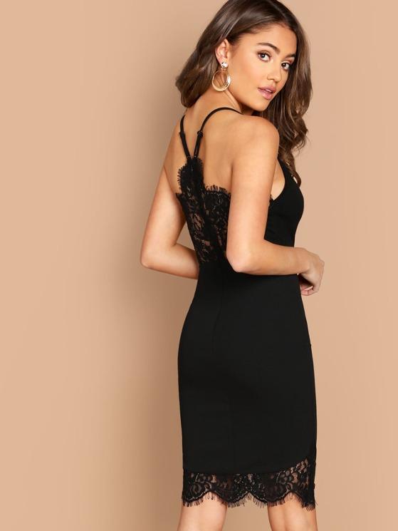 2c1da30f81bb0 Lace Insert Cami Bodycon Dress | MakeMeChic.COM