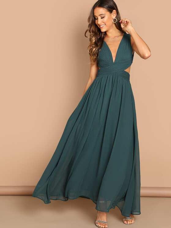 e41e5ca9a6c20 Open Back Ruched Top Flowy Prom Dress | MakeMeChic.COM