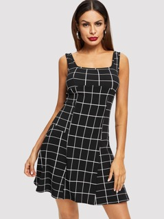 Grid Print Sleeveless Dress