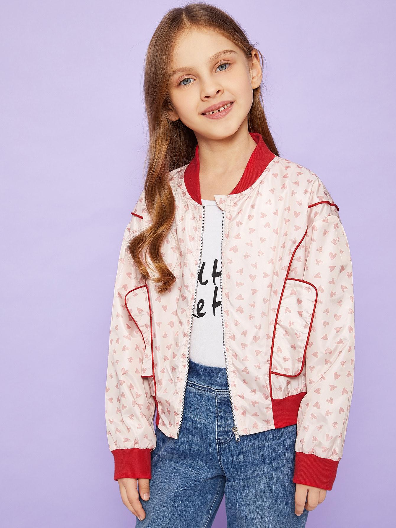 Купить Для девочек куртка на молнии с принтом сердце, Anna C, SheIn