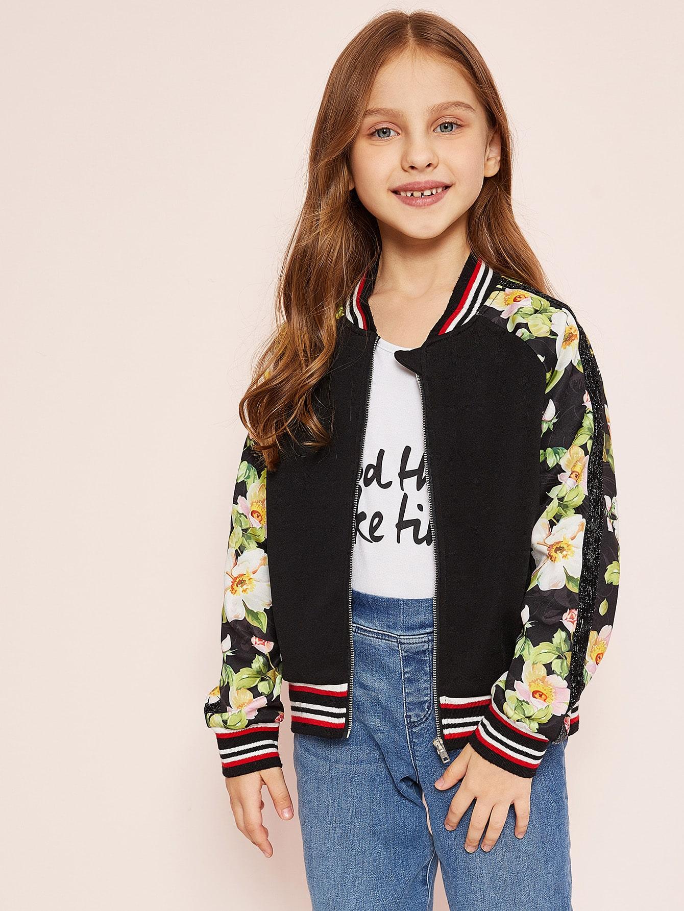 Купить Для девочек куртка в полоску на молнии с цветочным принтом, Anna C, SheIn