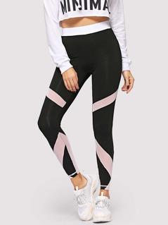 Contrast Waist Cut-and-sew Leggings