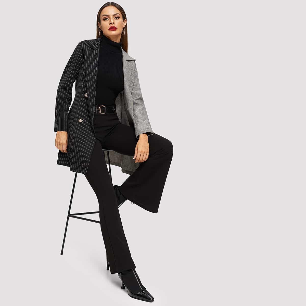 Контрастное полосато пальто от SHEIN