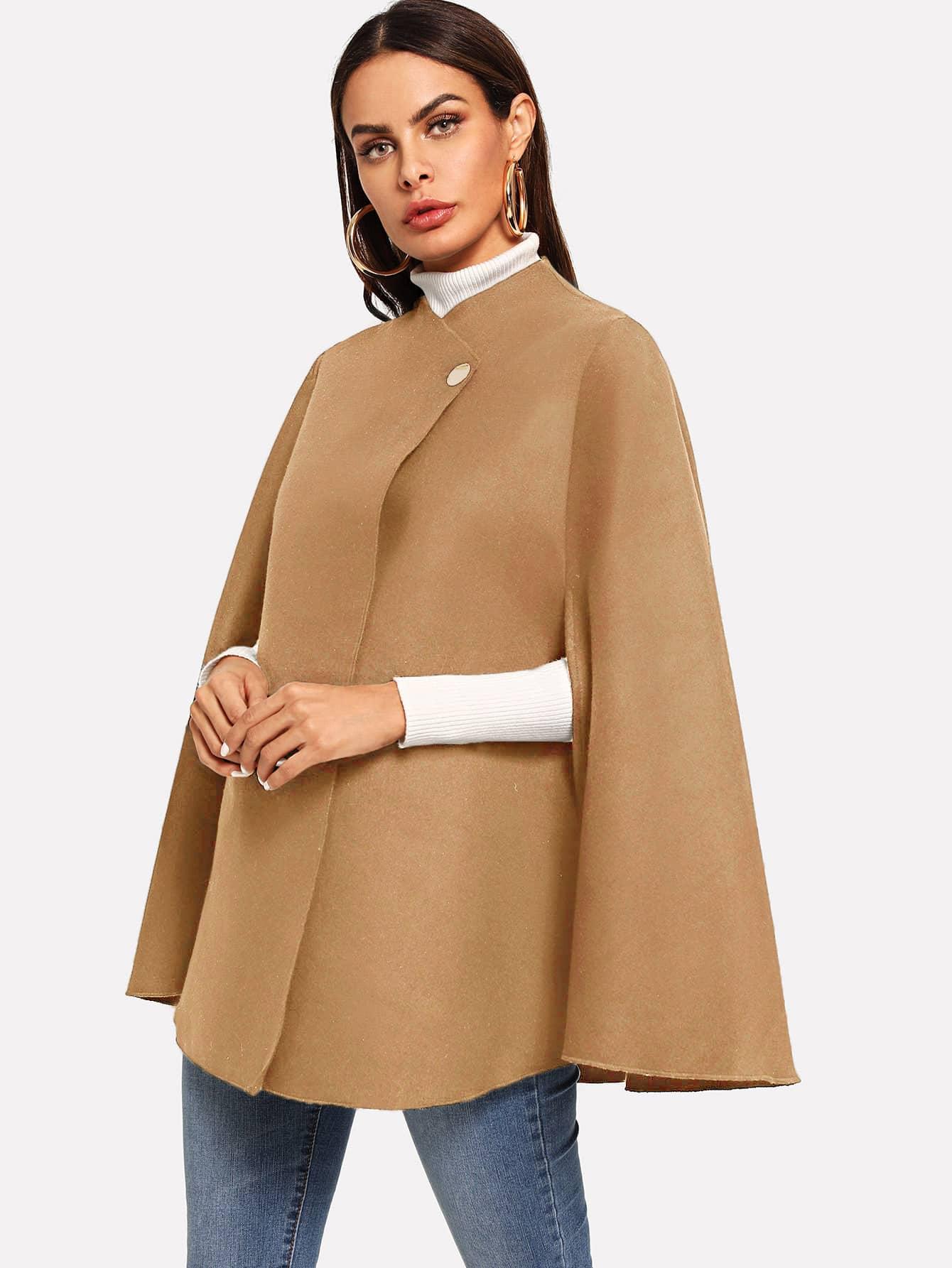 Купить Однобортное пальто-пончо, Andy, SheIn