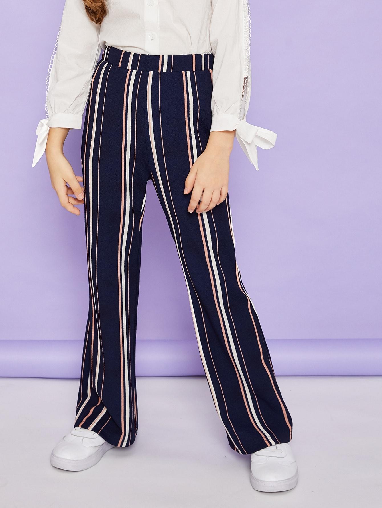 Купить Широкие брюки в полоску для девочек, Anna C, SheIn