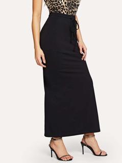 Drawstring Waist Pocket Split Skirt